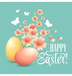Easter card with eggs and flowers vector