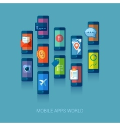Mobile apps universe flat icons concept vector