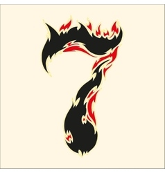 Fiery font number 7 on white vector