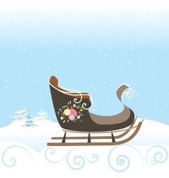 Winter sled flowers vintage snow snowflake vector