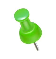 Green push pin icon realistic style vector