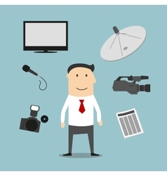 Reporter profession and broadcasting devices vector