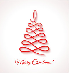 Abstract red christmas tree on white background vector