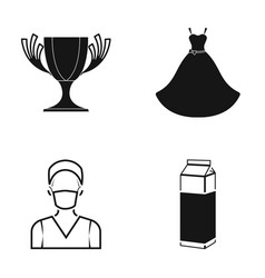 A cup a wedding dress and other web icon in black vector