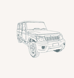 Adventure off road car sketch vector