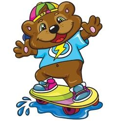 Bear skateboarder on a white background vector image vector image