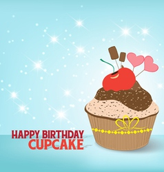 Birthday cupcake against a cyan background vector image
