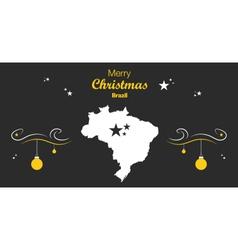 Brazil merry christmas map black vector