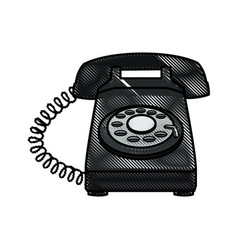 drawing telephone communication device image vector image vector image