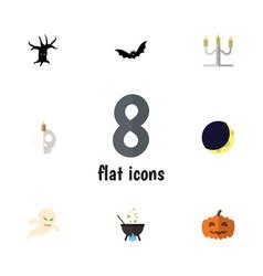 flat icon halloween set of ghost magic cranium vector image