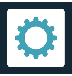 Gear flat blue and white colors rounded button vector image