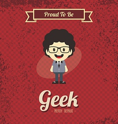 genius geek retro cartoon vector image vector image