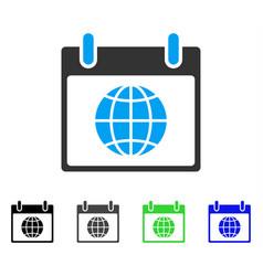 Globe calendar day flat icon vector
