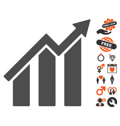 growth chart icon with dating bonus vector image vector image