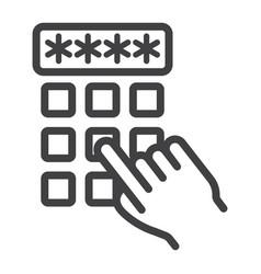 Hand finger entering pin code line icon unlock vector