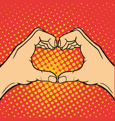 Hand showing heart deaf-mute gesture human arm vector