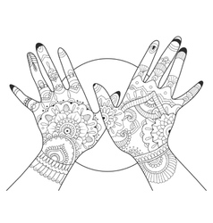 Hands with mehndi drawing coloring book for adults vector