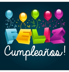 Happy Birthday in Spanish vector image vector image