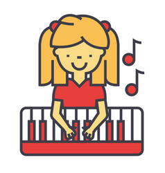 Happy little girl playing on piano pianist vector