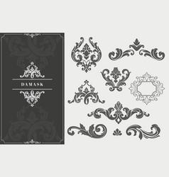 high quality damask design elements vector image vector image