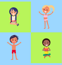kids learning or enjoying summer in swimsuits vector image vector image