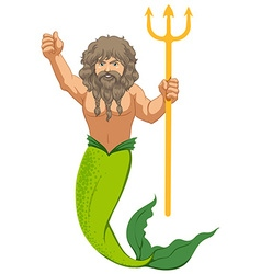 Male mermaid with the trident vector