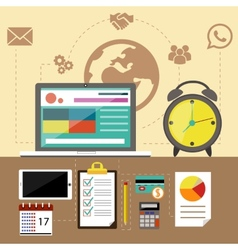 Management objects business and office items vector