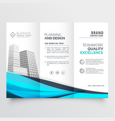 Modern trifold brochure design with blue wave vector