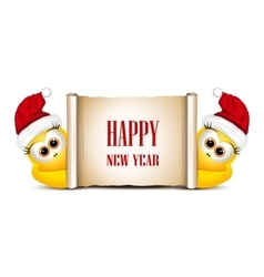 New year card design template two funny chicken vector