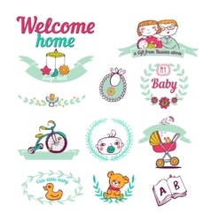 Newborn welcome home Icon set vector image