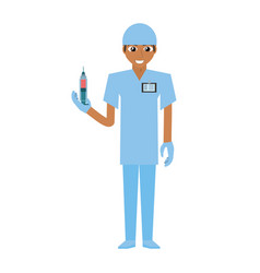 Nurse male suit gloves and syringe vector