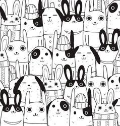 Rabbit seamless pattern c vector