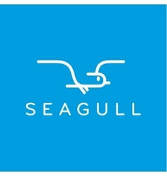 Seagull logo in one line outline flash style vector