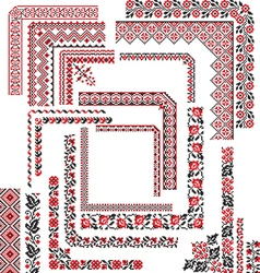 Set of corner patterns for embroidery stitch vector
