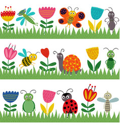 set of isolated borders with funny insect vector image vector image
