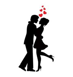 silhouettes of couples in love vector image vector image