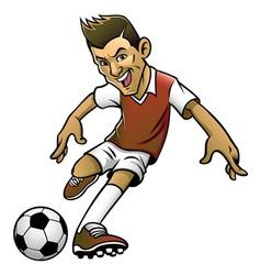 soccer player kicking the ball vector image vector image