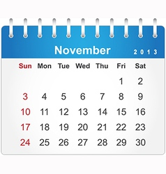 Stylish calendar page for November 2013 vector image vector image