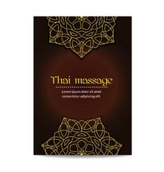 Thai massage banner with golden floral mandalas vector