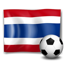The flag of Thailand beside a soccer ball vector image vector image