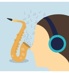 woman headphone music sound vector image