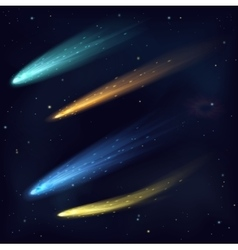 Realistic color meteor asteroid comet in vector image