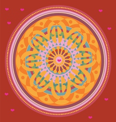 Red floral mandala with love message vector image