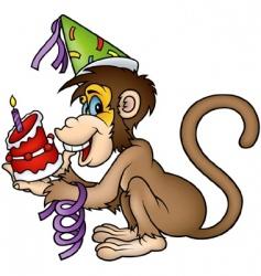 Monkey happy birthday vector