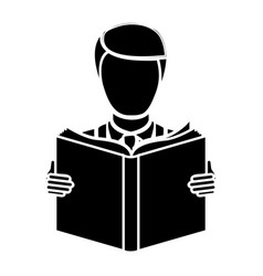 Black man to read a book icon vector