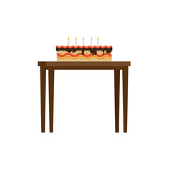 Chocolate cake with candles on table flat vector
