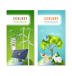 ecology green energy 2 vertical banners vector image