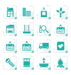 Stylized real estate and building icons vector