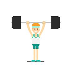 Sporty boy in sportswear lifting barbell vector