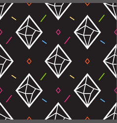 Diamond or crystal seamless pattern geometric vector